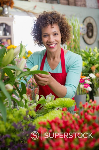 Stock Photo: 1589R-169517 Mixed race woman working in florist shop