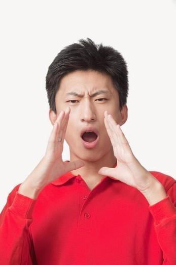 Shouting Chinese man : Stock Photo