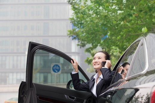 Chinese businesswoman in car talking on cell phone : Stock Photo