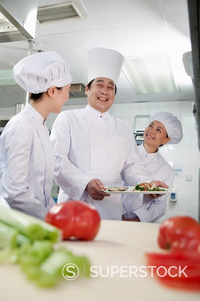 Stock Photo: 1589R-170411 Chinese chefs in commercial kitchen
