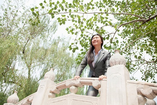Chinese businesswoman standing on bridge : Stock Photo