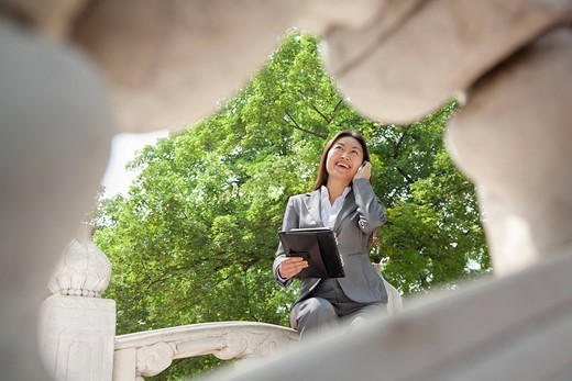 Chinese businesswoman talking on cell phone : Stock Photo