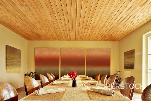 Stock Photo: 1589R-171175 Long perspective view of empty banquet room at a luxury resort