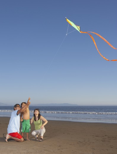 Stock Photo: 1589R-17122 Family flying kite at beach