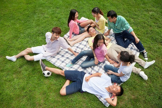 Group of Chinese friends relaxing on picnic blanket : Stock Photo