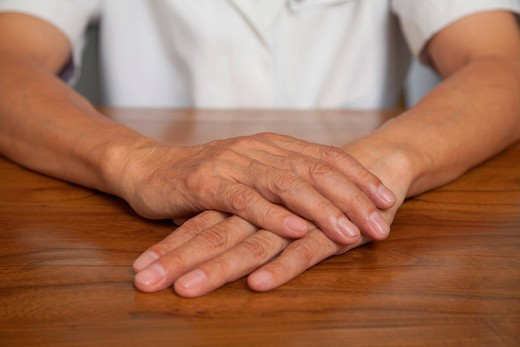 Close up of Chinese man´s hands : Stock Photo