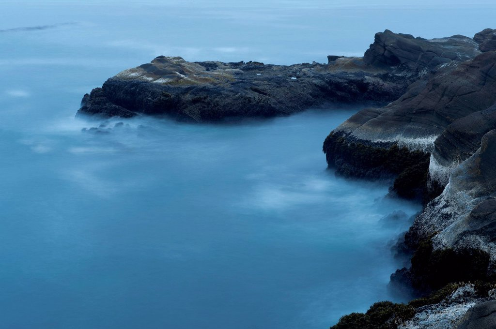 Aerial view of foggy coastline : Stock Photo