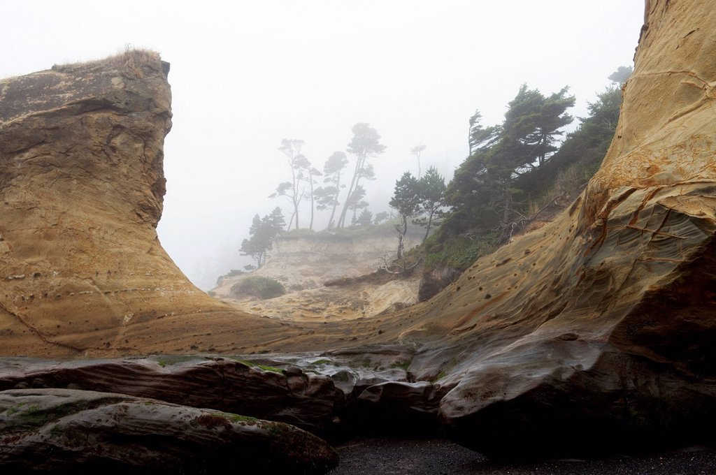 Stock Photo: 1589R-172019 Rock formations on foggy coastline
