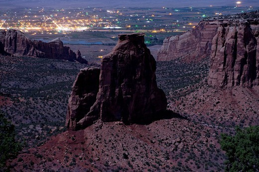 Rock formations in desert valley : Stock Photo