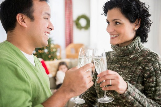 Smiling couple toasting each other with champagne : Stock Photo