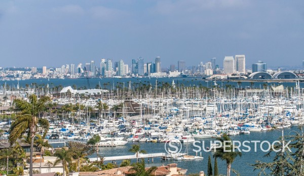 Stock Photo: 1589R-185262 City skyline overlooking harbor, San Diego, California, United States