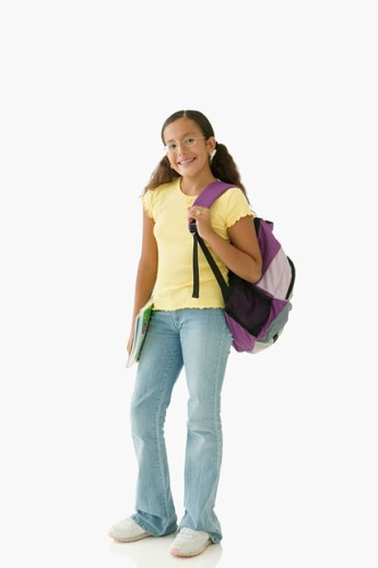 Stock Photo: 1589R-19432 Student posing for the camera with backpack