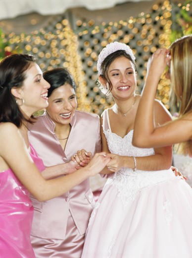 Girl celebrating with friends at birthday party : Stock Photo