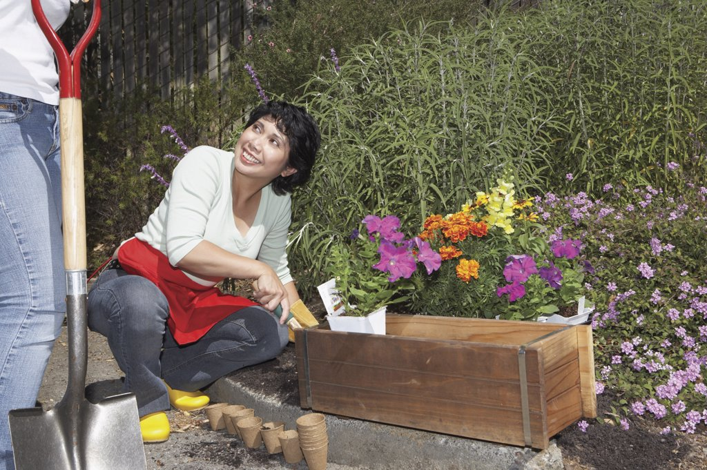 Stock Photo: 1589R-22451 Middle aged woman gardening