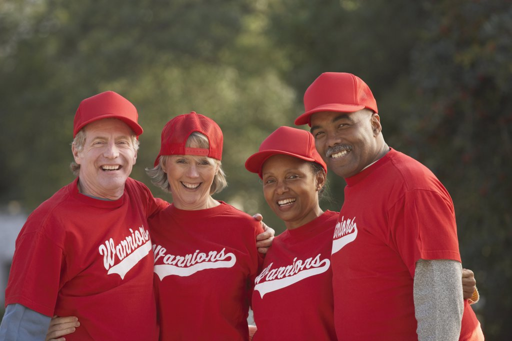 Stock Photo: 1589R-22994 Group of middle-aged ball players