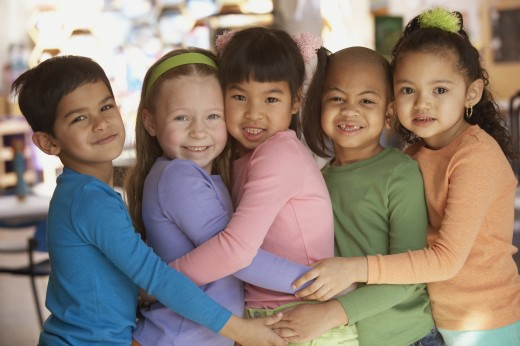 Stock Photo: 1589R-23062 Group of young children hugging