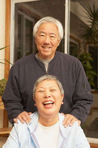 Stock Photo: 1589R-25512 Senior Asian couple laughing, San Rafael, California, United States