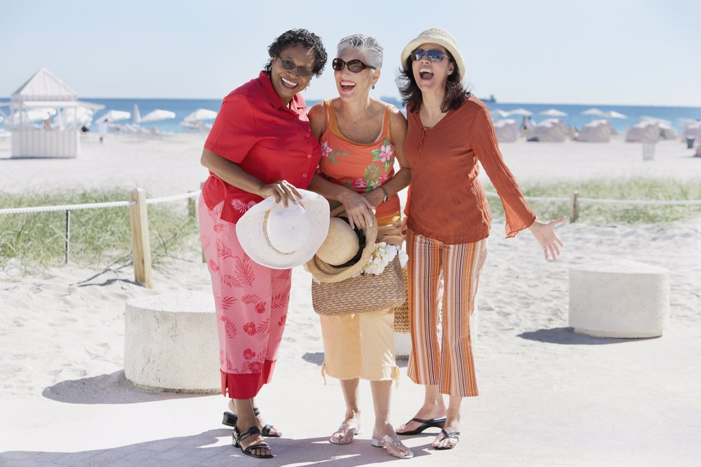 Group of middle-aged women at the beach, Miami, Florida, United States : Stock Photo
