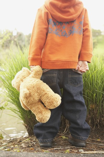 Stock Photo: 1589R-27147 Rear view of young boy with teddy bear