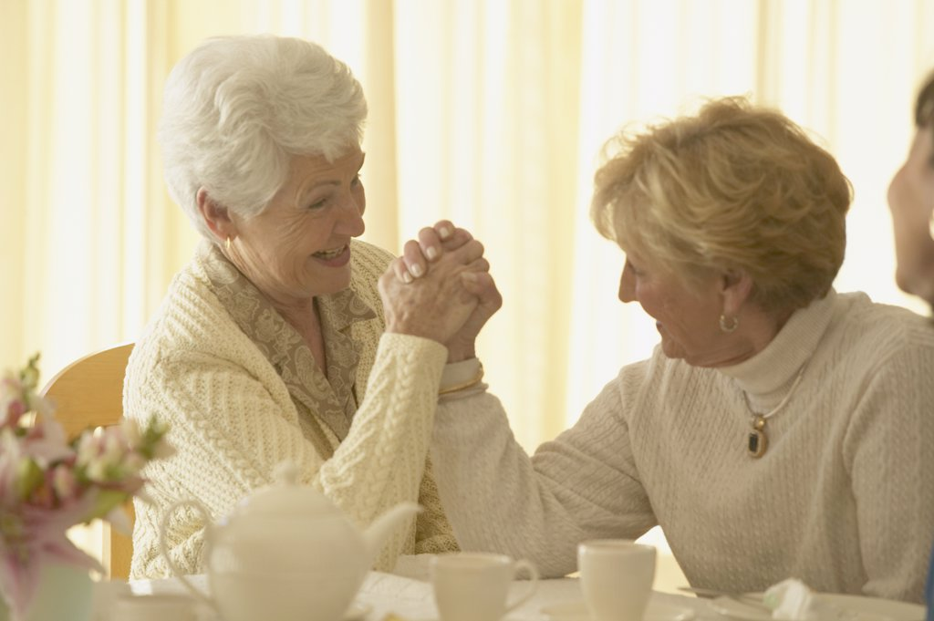 Stock Photo: 1589R-27715 Two senior women arm wrestling