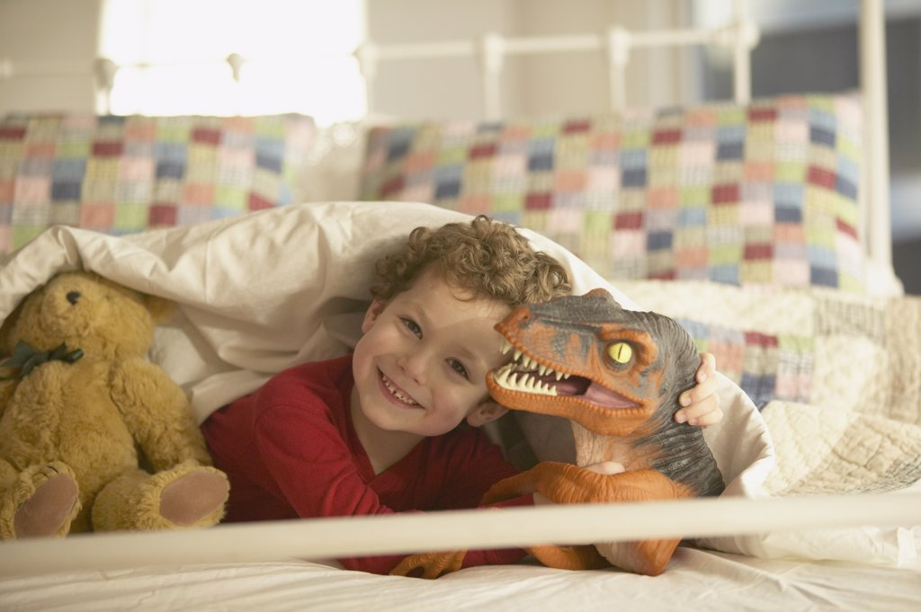 Stock Photo: 1589R-27716 Young boy smiling in bed with toy dinosaur
