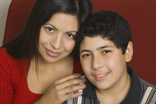 Stock Photo: 1589R-28619 Hispanic mother and son smiling indoors