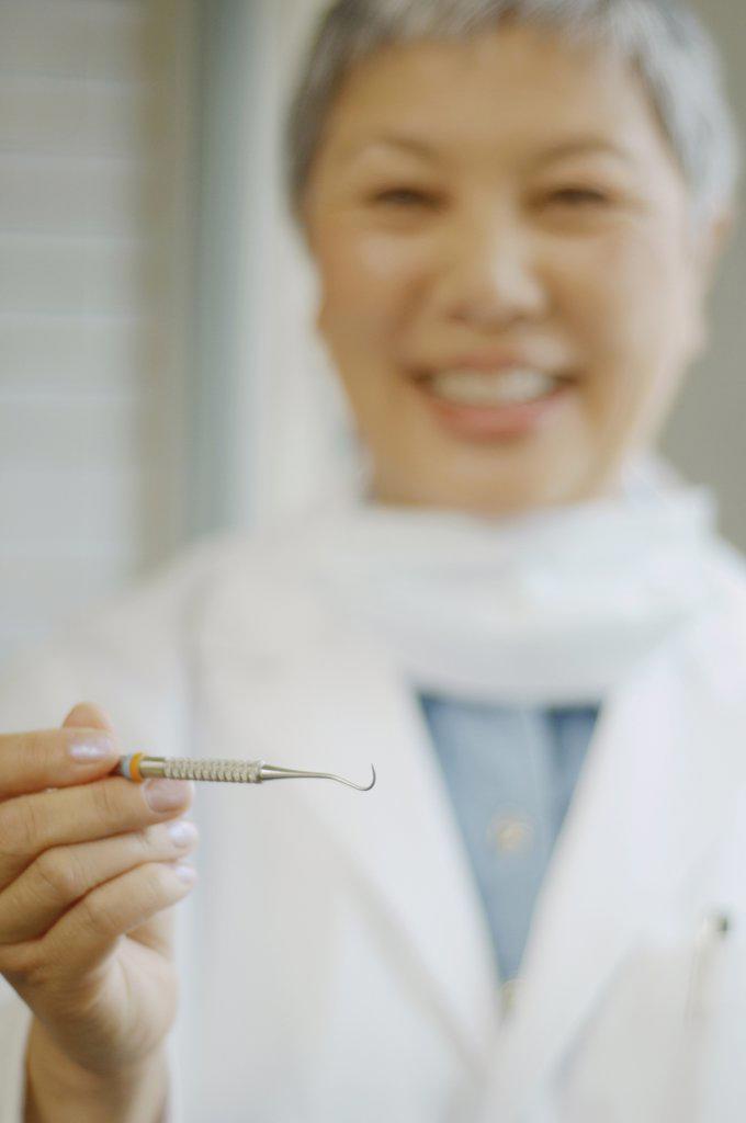 Senior Asian female dentist holding up dental tool : Stock Photo