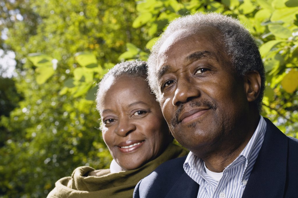 Stock Photo: 1589R-30837 Close up of senior African couple smiling outdoors