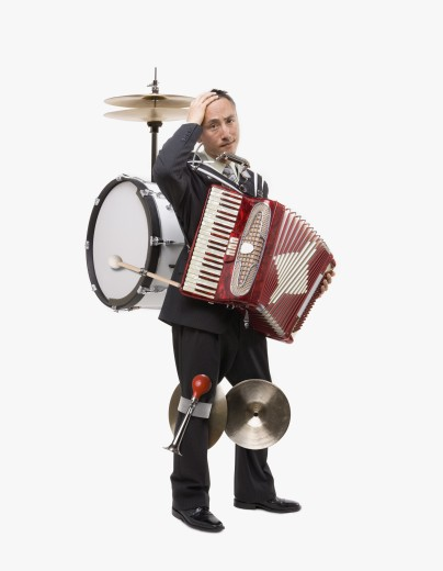 Stock Photo: 1589R-34577 Asian one man band