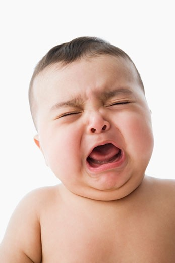 Stock Photo: 1589R-34950 Studio shot of baby crying