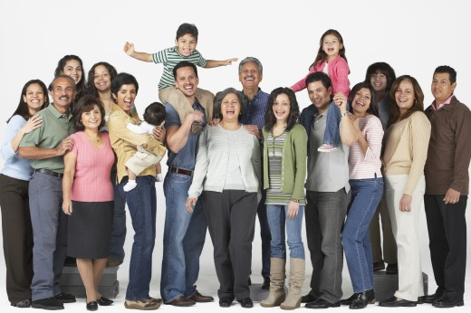 Stock Photo: 1589R-37436 Portrait of multi-generational Hispanic family