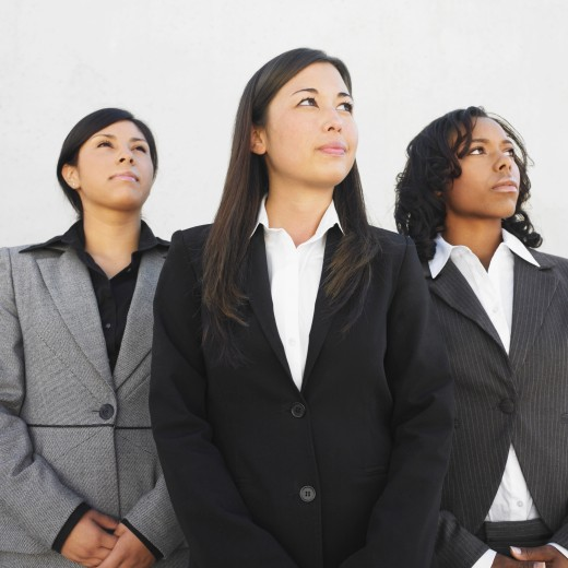 Stock Photo: 1589R-37588 Ethnic-ethnic businesswomen looking up