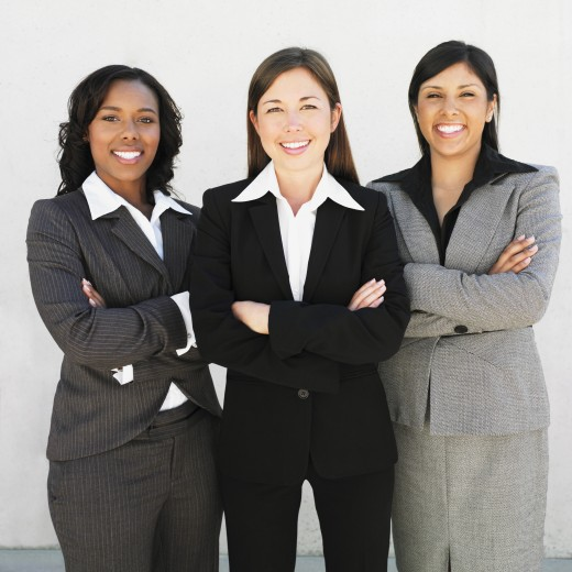 Stock Photo: 1589R-37598 Multi-ethnic businesswomen with arms crossed