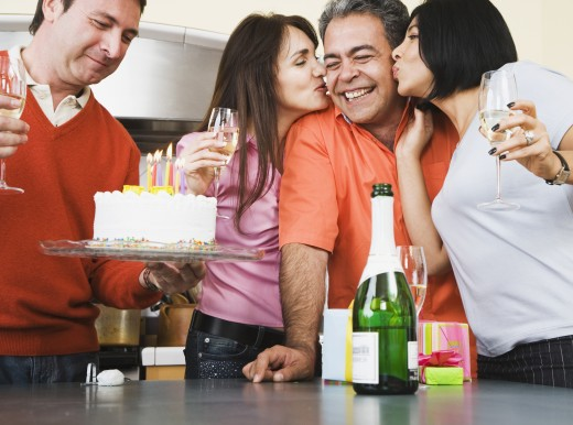 Stock Photo: 1589R-37754 Middle-aged friends at birthday party