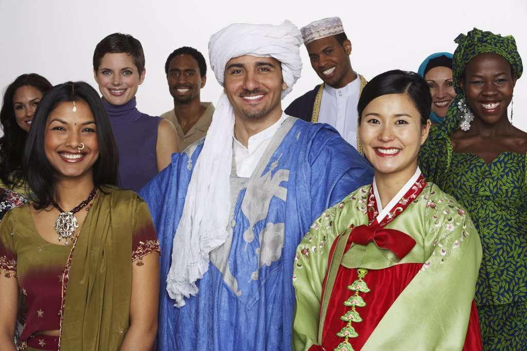 Stock Photo: 1589R-37858 Multi-ethnic people in traditional dress