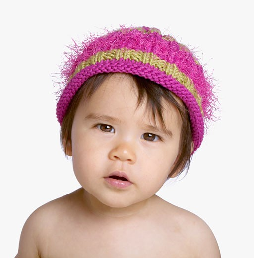 Stock Photo: 1589R-39214 Studio shot of Asian baby wearing hat