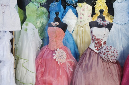 Stock Photo: 1589R-39587 Shop window with Quinceanera dresses