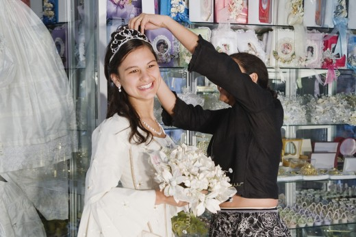 Hispanic girl in Quinceanera outfit : Stock Photo