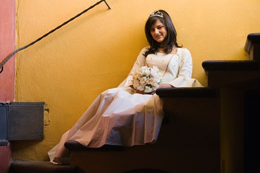 Stock Photo: 1589R-39608 Hispanic girl in Quinceanera dress