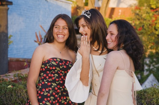 Stock Photo: 1589R-39628 Hispanic girl and friends at Quinceanera