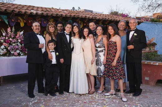 Hispanic family at Quinceanera : Stock Photo