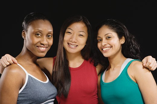 Group of multi-ethnic female athletes : Stock Photo