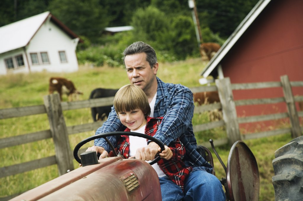 Father and son driving tractor : Stock Photo