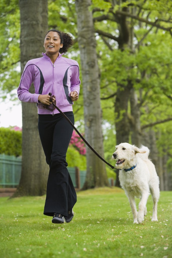 Stock Photo: 1589R-41362 African American woman jogging with dog
