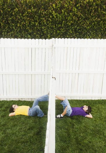 Stock Photo: 1589R-41618 Mixed Race children on opposite sides of fence