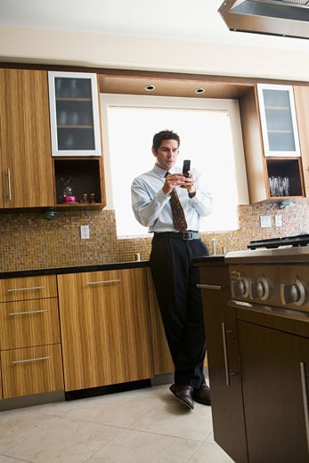Stock Photo: 1589R-42238 Hispanic businessman looking at cell phone
