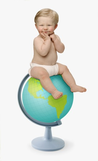 Stock Photo: 1589R-42341 Studio shot of baby sitting on globe
