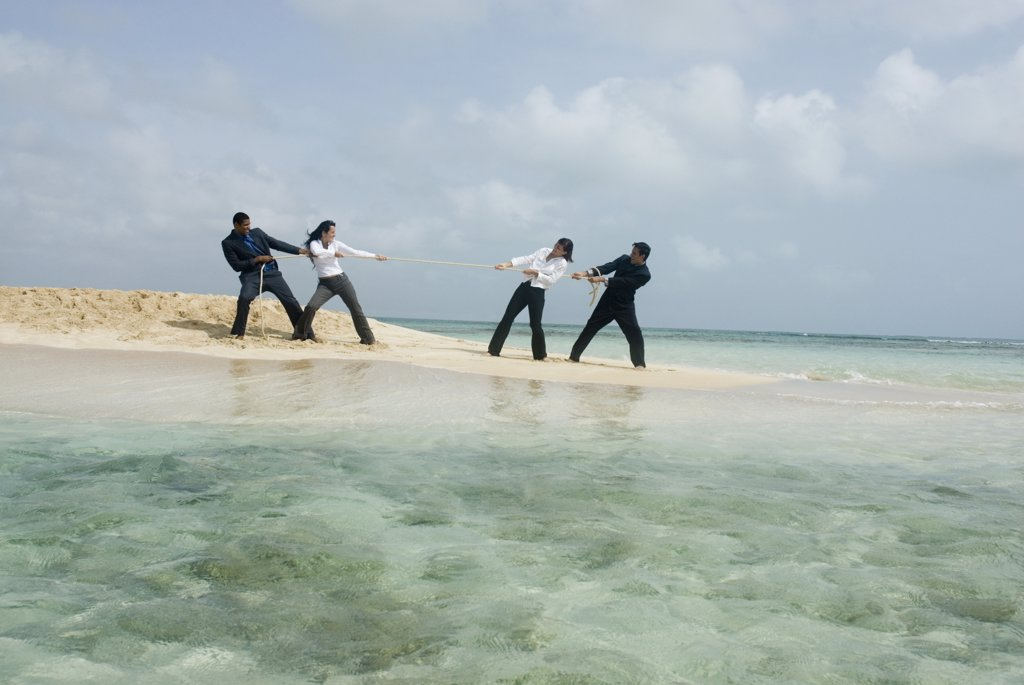 Stock Photo: 1589R-44183 Multi-ethnic businesspeople having tug of war