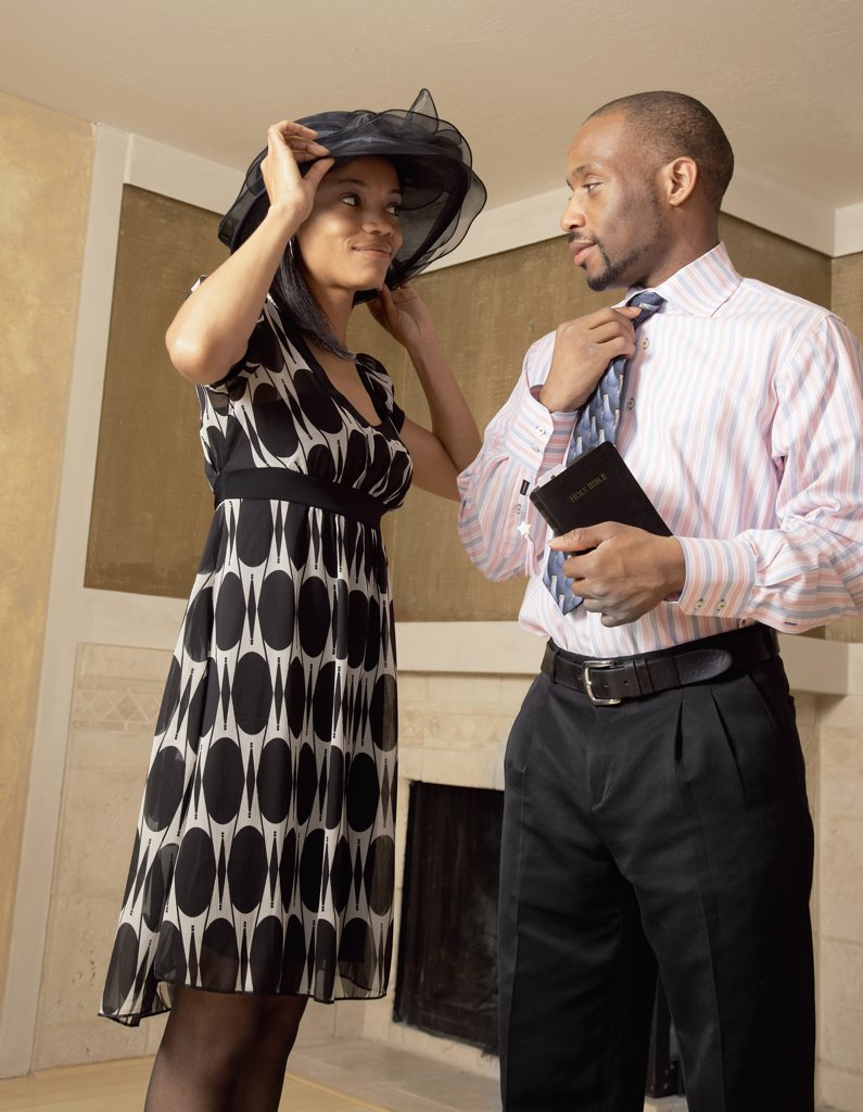 Stock Photo: 1589R-45048 African couple dressed for church