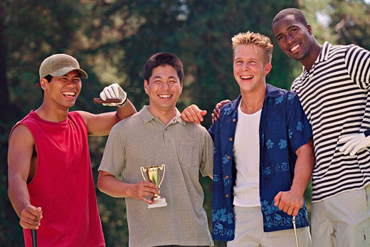 Stock Photo: 1589R-45988 Multi-ethnic men with golf trophy